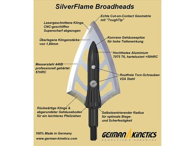German Kinetics SilverFlame Broadheads 100grain 3-pack